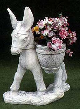 Animali da giardino ornamentali in cemento bianco asino for Animali da giardino