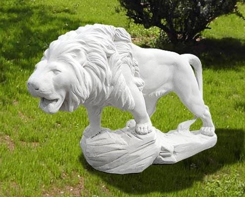 Animali da giardino ornamentali in cemento bianco leone for Animali da giardino