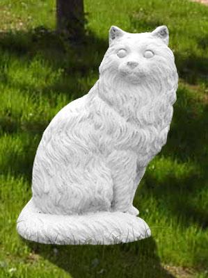 Animali da giardino ornamentali in cemento bianco gatto for Animali da giardino