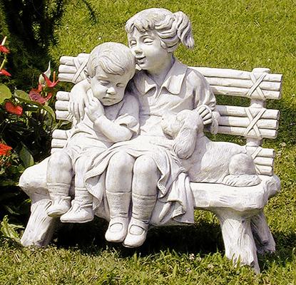 Pu2045 bambini su panchina con cagnolino vendita - Statue giardino ...