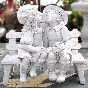 Stm54 b ta40 b coppia bimbi su panchina vendita - Statue giardino ...