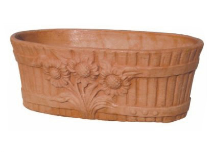 Cassetta ovale rigata girasoli in terracotta t40011 mr for Vasi terracotta prezzi