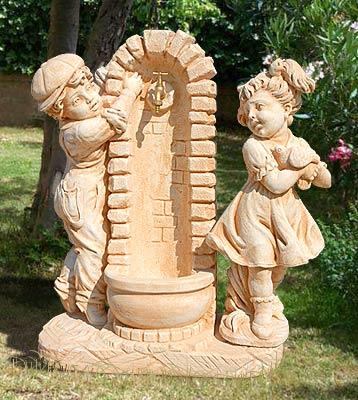Fnr41 fontane da giardino vedovella in cemento con bimbi da interno e da esterno lonardi snc - Fontane fai da te per giardino ...